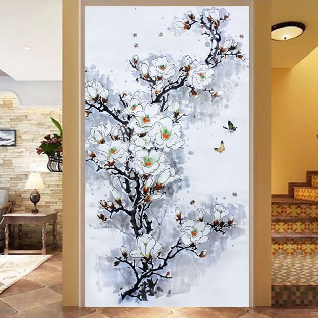 Customized size Windows Glass Film Door Stickers Cabinet furniture modern sticker Art opaque Self Adhesive White flower