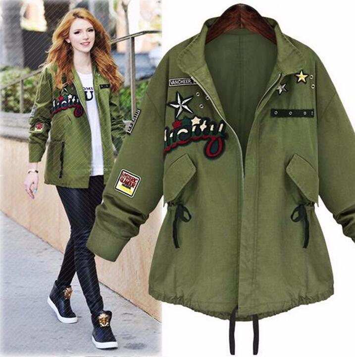 2017 Women Army Green Bomber   Jacket   Tops Long Sleeve Slim Outwear Overcoat Woman   Basic   Coat