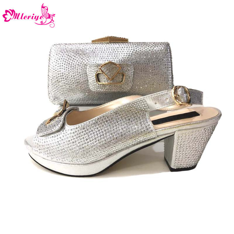 silver 2018 African Women Shoes And Bag Set With Appliques Flower Pumps Italian Shoes With Matching Bag For Evening Party