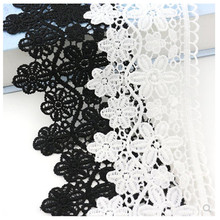 цена на 2019 Hot Sale 9cmWidth Classical Black White Venice Lace Embroidered Lace Trim New Design Hollow Out Elegent Guipure Lace Fabric