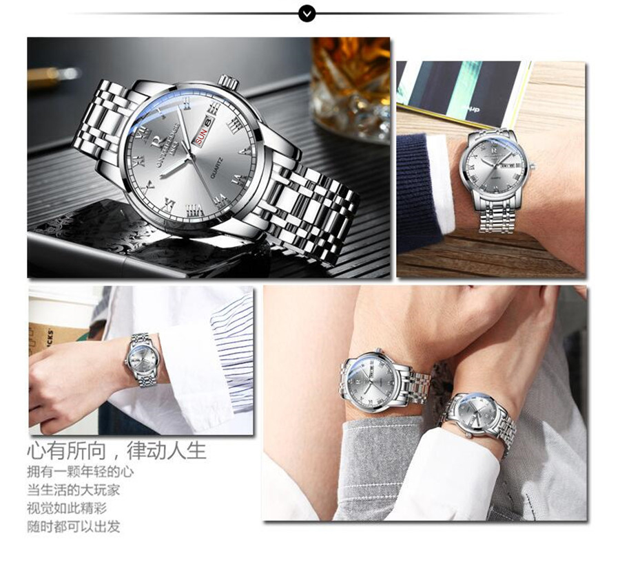 Watch Men Women Business Waterproof Clock Auto Date Silver Steel Mens Watches Fashion Casual Ladies Quartz Wristwatch NEW 4