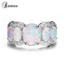 Bamos Fashion Vintage Opal Wedding Ring Round Rainbow Finger
