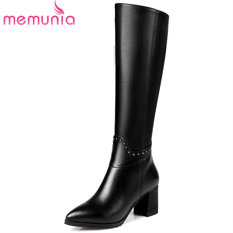 MEMUNIA Top quality womens boots genuine leather + PU high heels shoes knee high boots pointed toe zip rivets large size 34-43 memunia big size 34 43 over the knee boots for women fashion shoes woman party pu platform boots zip high heels boots female