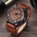 Новый Топ бренд Роскошные Мужские часы Дата спортивные повседневные Модные Военные часы кожаный ремешок кварцевые деловые мужские