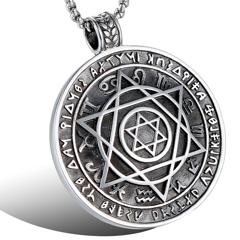 Talisman Hexagram Solomon Amulet Pendant Necklace Cool Punk Stainless Steel Hexagram Round Necklace for Men JewelryTalisman Hexagram Solomon Amulet Pendant Necklace Cool Punk Stainless Steel Hexagram Round Necklace for Men Jewelry