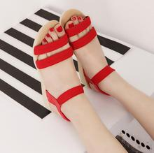 NEW Style HOT 2017 Summer Womens Lady Youth Fashion Simple All-Match Casual Low Heel Flat Peep Toe Hollow Out Shoes Sandals L342