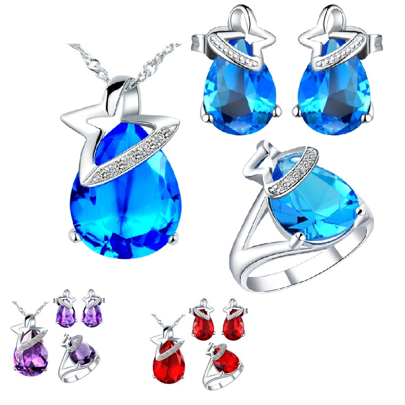 925-Sterling- Silver Sets For Women Colorful Blue Red Purple Crystal Necklace Earrings Ring Wedding Jewelry Sets For Brides