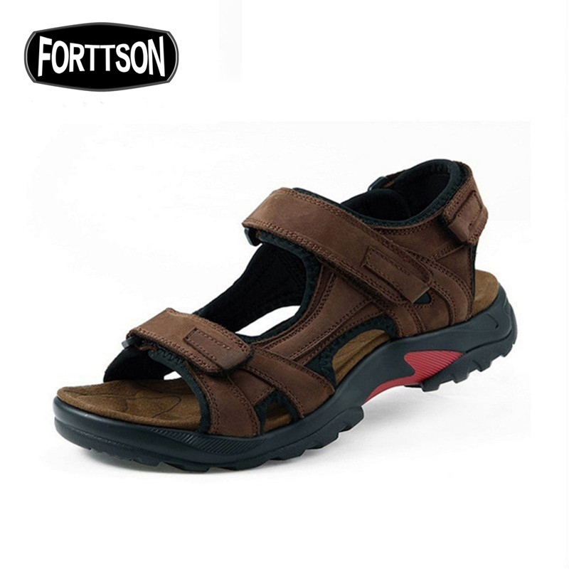 Summer Men Sandals Beach Genuine Leather Outdoor Spring Sports Sneakers Breathable Quick Drying Camping Massage