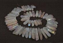 Rainbow Pink AB Mystic Titanium Crystal Quartz Top Drilled Point Pendant Bead,Rock Raw Crystal Pillar Graduated Necklace Jewelry
