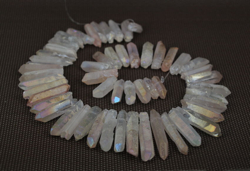 Rainbow Pink AB Mystic Titanium Crystal Quartz Top Drilled Point Pendant Bead Rock Raw Crystal Pillar