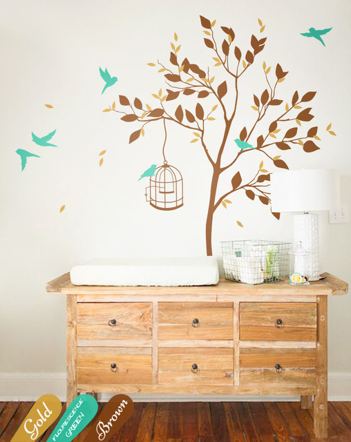 baby room decals, unisex wall stickers, nursery tree wall decal