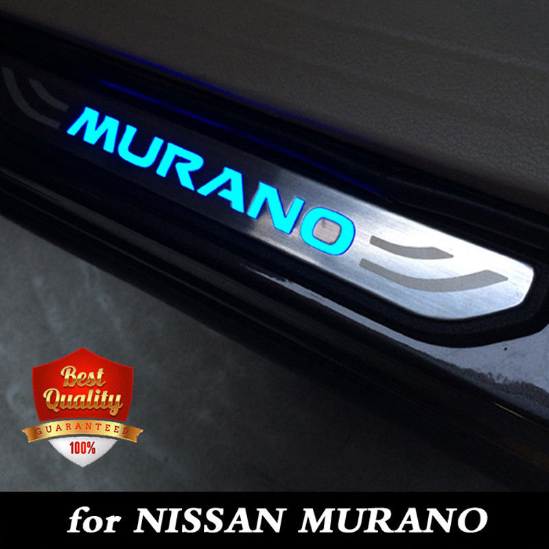LED Door Sill Scuff Plate Step Protector For All New Nissan Murano 2015-2018 Blue light цены