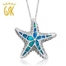 """GemStoneKing Gorgeous Náutico Starfish Creado Opal Plata de Ley 925 Colgante Para Las Mujeres con 18 """"la Cadena de Plata"""