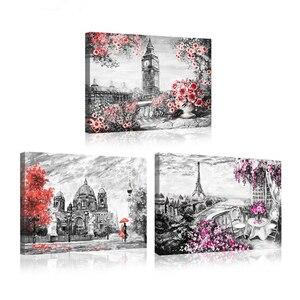 Drieluik schilderijen door nummer Volledige Vierkante Ronde Boor 5D Diy Diamond Schilderen Rode Paraplu Paar Romantische Straat SceneryZP-1419