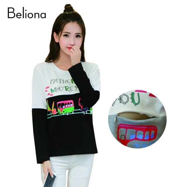 Cotton Print Breastfeeding Clothing Long Sleeve Maternity Tops for Nursing Autumn Spring Pregnancy T Shirts for Pregnant Women