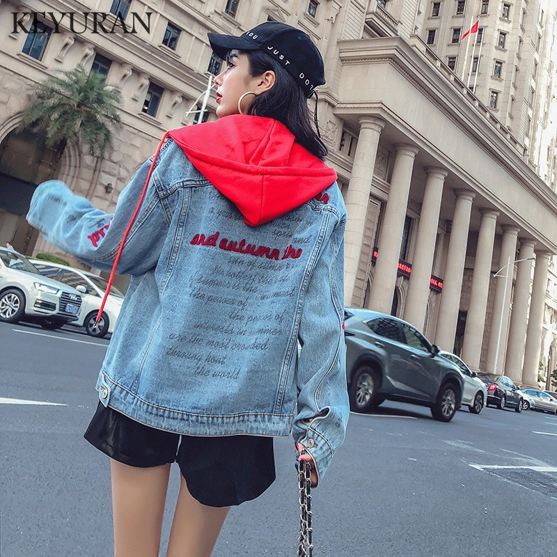 Hooded Jacket Denim Coat Women Embroidery Letter Jean Basic Jackets 2019 Autumn Button Up Female coat Casual Patchwork Jacket