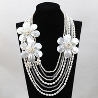 Graceful Handmade Shell Flowers Pearl Necklace Jewelry African Costume Jewellery Party Eveents Necklace Free Shipping FP162