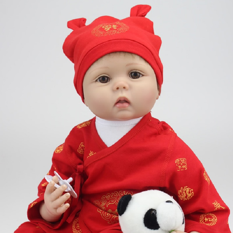 Chinese Red Festive Doll Soft Silicone Baby Reborn With Free Panda Plush Toy Xmas Birthday Gift For Lover Child Relatives Friend the lovely panda toys sitting panda plush doll with red heart soft toy birthday gift about 30cm