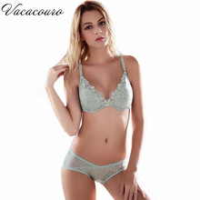 ABCD Cup Underwear Sexy Floral Embroidery Lace Push Up Bra Set Women Bralette 3/4 Cup Bra and Panty Set Plus Size lingerie BS163