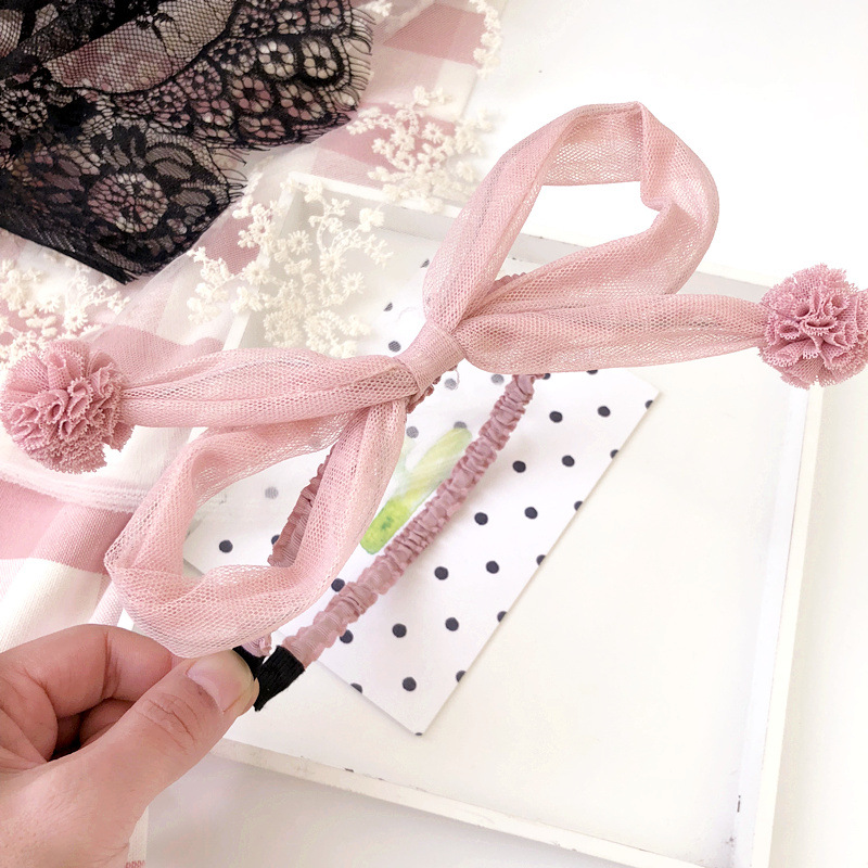 Korea Hair Accessories lovely Rabbit Flower Crown Hair Band Cotton Headband For Girls Hair Bow Princess 4