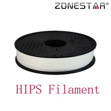 ZONESTAR High Quality 1KG 1.75mm White HIPS Filament for 3D Printer 3D Printing Materials