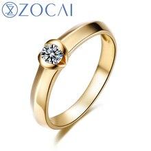ZOCAI Пасьянс Обручальное Кольцо 0.12 КАРАТ Набора Каналов Diamond Solid18K Желтое Золото W04091