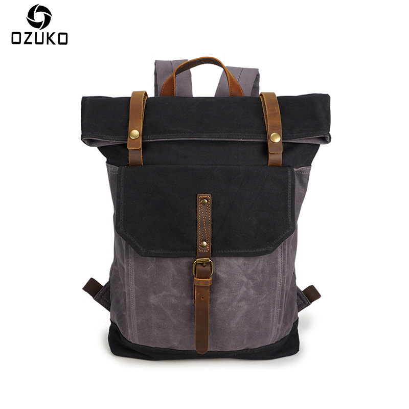 OZUKO Brand backpack male Waterproof Canvas Backpack Fashion Retro Travel Mochila Casual Student School Backpack Bag For Teenage canvas backpack women for teenage boys school backpack male