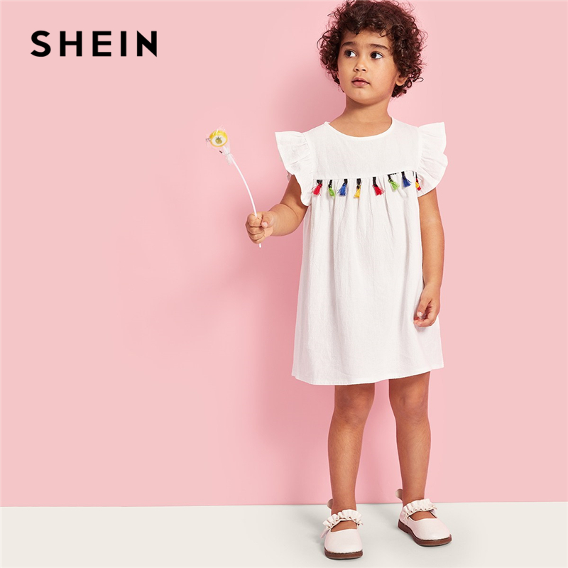 SHEIN Kiddie Girls Colorful Tassel Front Ruffle Armhole Dress Children 2019 Summer Cap Sleeve Button Back Cute Tunic Dresses new baby girls fall children clothes cute solid color dress with white lace ruffle dress girls boutique summer soft denim dress