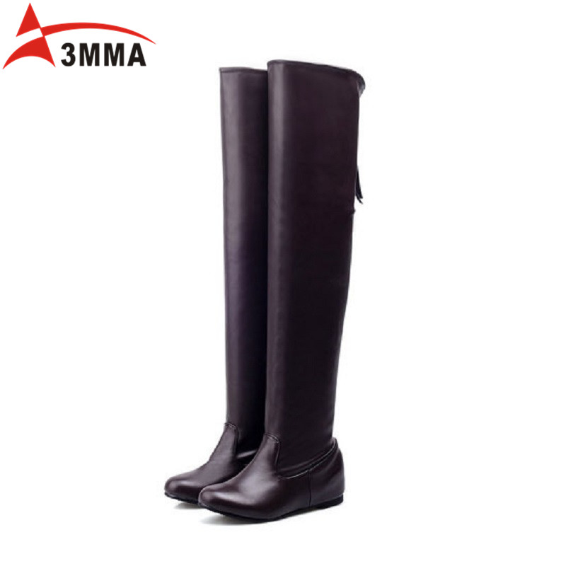 ФОТО 3MMA Handmade Black Over The Knee Boots Large Size Flat Wedges Boots Ladies Soft Leather Thigh High Long Winter Autumn Boots