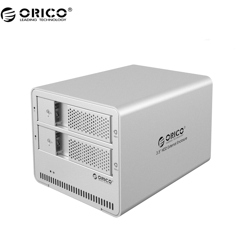 ORICO 9528U3-SV 2-bay USB3.0 Aluminum 3.5'' External SATA HDD Enclosure Support 8TB Storage - Silver orico 9528u3 2 bay usb3 0 sata hdd hard drive disk enclosure 5gbps superspeed aluminum 3 5 case external box tool free storage