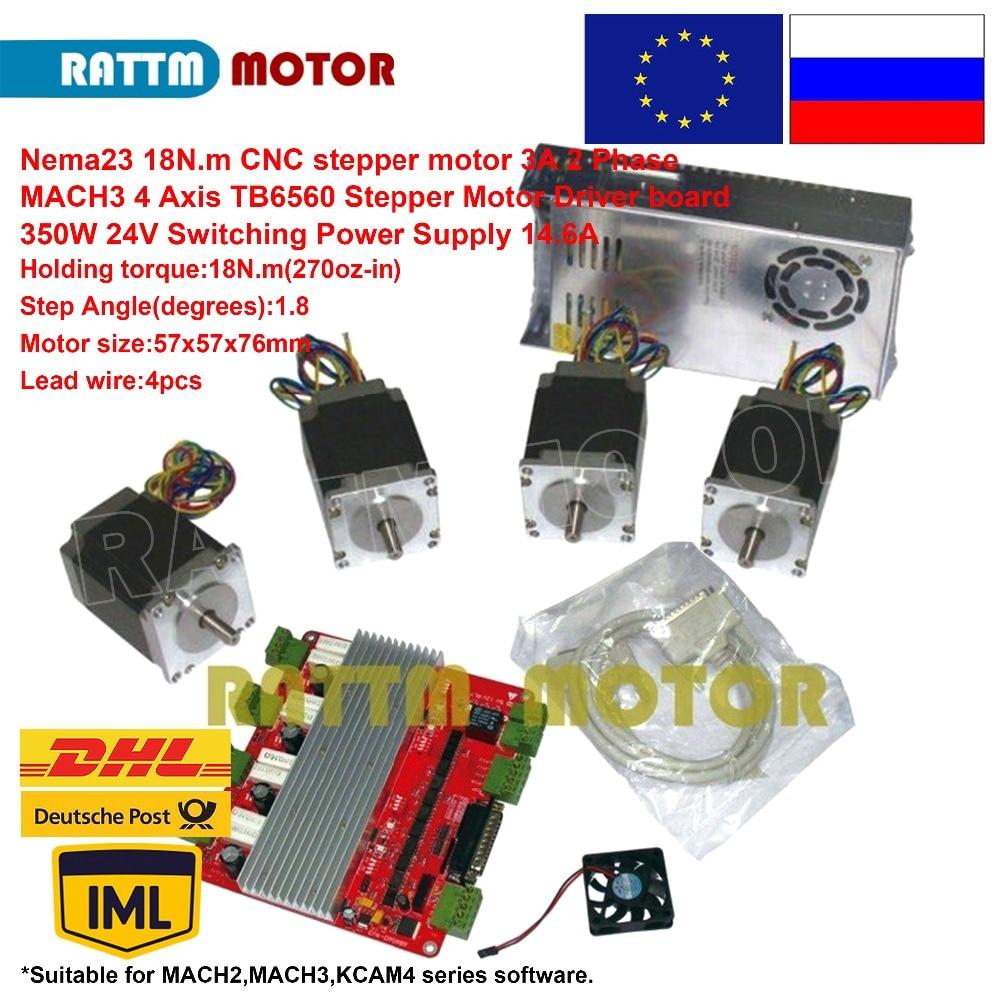 L'UE/RU Bateau! 4 axe kit de contrôleur 4 pièces Nema23 18Nm (270oz-in) moteur pas à pas + 4 axe CNC contrôleur + 350 w 24 V alimentation