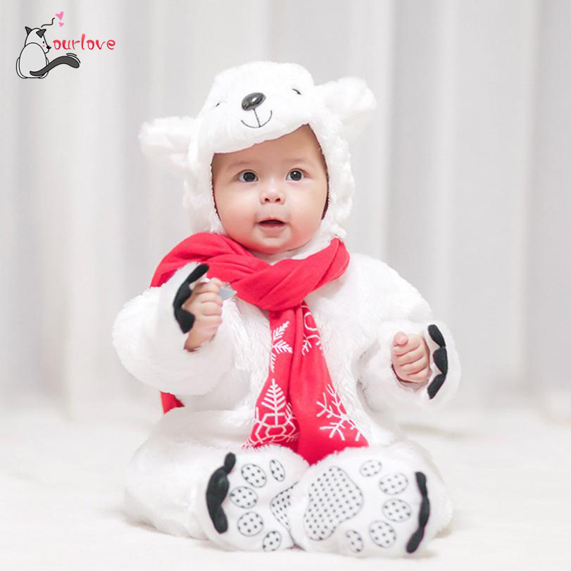 2017 New Kawaii Baby Animal Costume Hooded Rompers Onesie Outfit Winter baby clothes breathable Jumpsuit Christmas lowest price