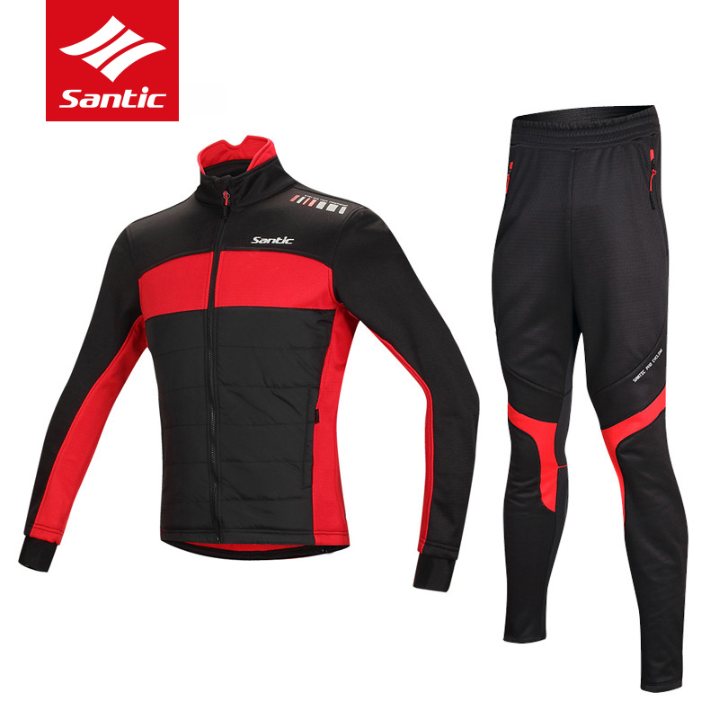 Santic Winter Cycling Jersey Thermal Fleece MTB Mountain Bike Jackets Set Clothing Windproof Warm Road Bicycle Jersey Ciclismo veobike winter windproof thermal fleece reflective bike bicycle jersey warm cycling wind coat jackets pants set for men women
