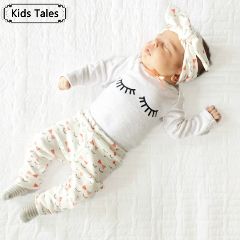 Kids Tales Clothes for newborn girls' eyelashes Print Bow tie clothes for babies Long-sleeved T-shirts+pants+scarf 3 sets ST272 tales