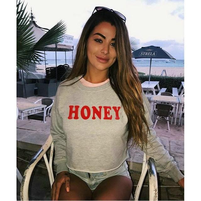18ad58c98e9348 Women Hoodies Sweatshirts Crop Tops HONEY Letter Print Pullovers Christmas  Jumper Tops Casual Long Sleeves Cropped Sweatshirts