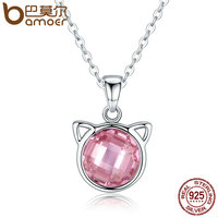BAMOER Genuine 925 Sterling Silver Cute Cat Pendant Necklaces With Pink Zircon For Women Kitty Animal