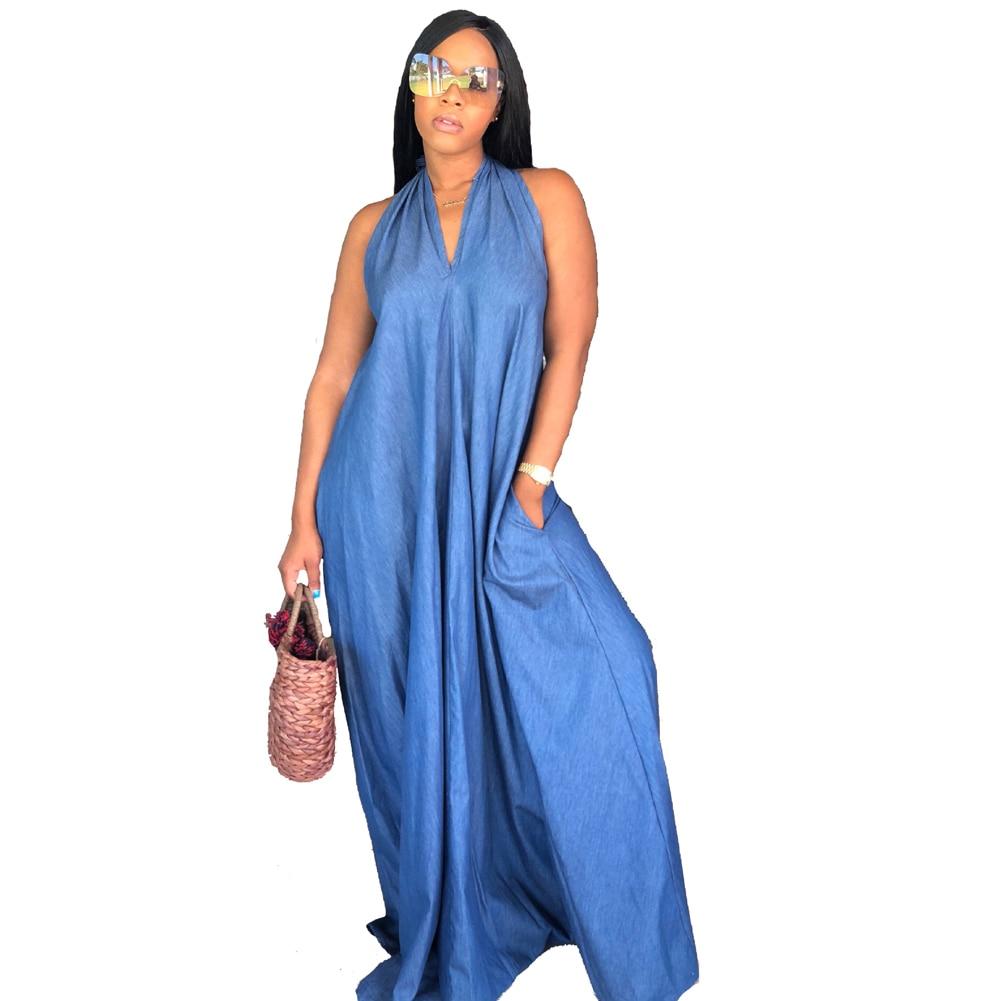 2018 Women Plus Size Loose Dress Sleeveless V Neck Halter Long Summer Dresses Large Size 6Xl Blue Casual Floor Length Dress