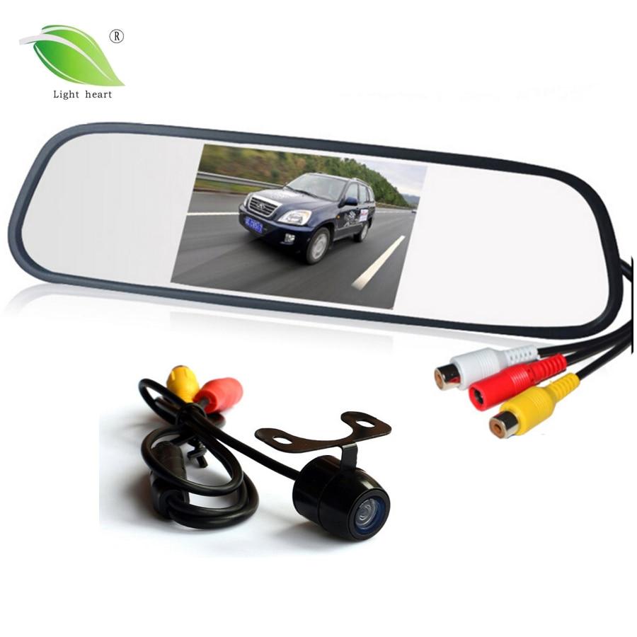 Parkolási segítségnyújtási rendszer 2 in 1 4.3 Digitális TFT LCD tükör Automatikus parkoló parkoló + 170 fok Mini autó hátsó nézet kamera