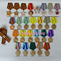 XDT0024 26 Pcs Different Styles Orders Decorations and Medals of USSR +a Ru Double Head Eagle Lapel Pins with St. George Ribbon
