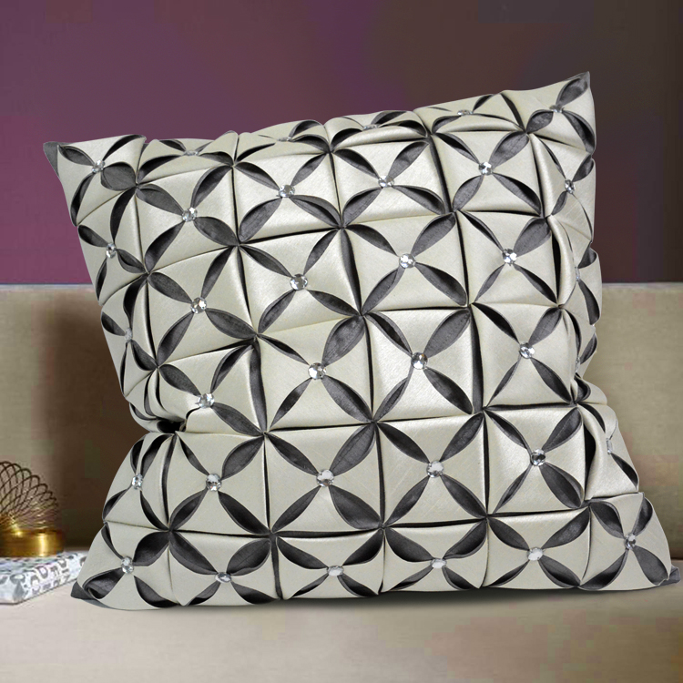 Fashion Luxury Patchwork Home Decor Pleat Beads Faux Silk Contrast Color Plaid Check Sofa 3D Cushion Cover Throw Pillow Case