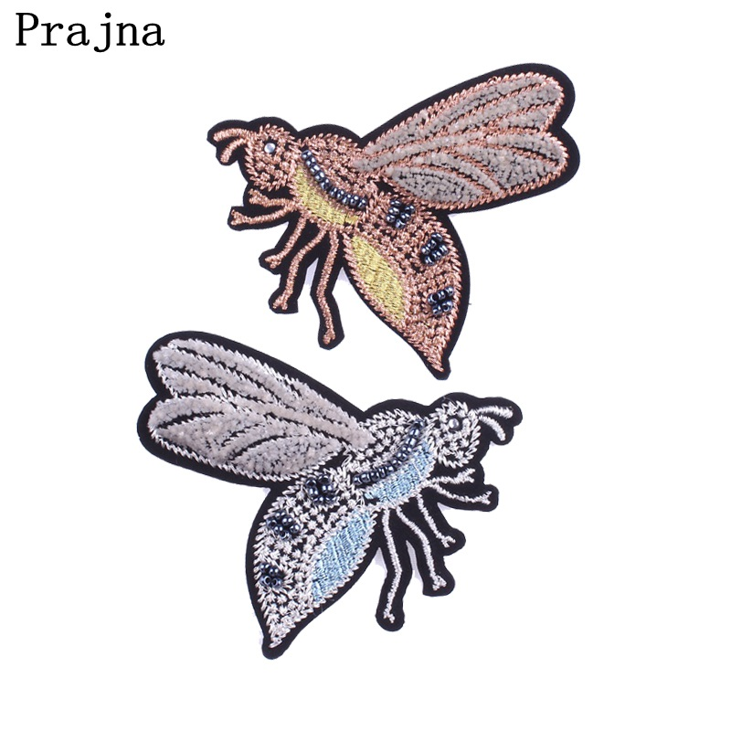 Prajna Cool Bee Patches Sew-on Patches Cartoon Beaded Patch Iron On Badge Embroidery Patch For Jeans T-shirt Stripes On Apliques ...