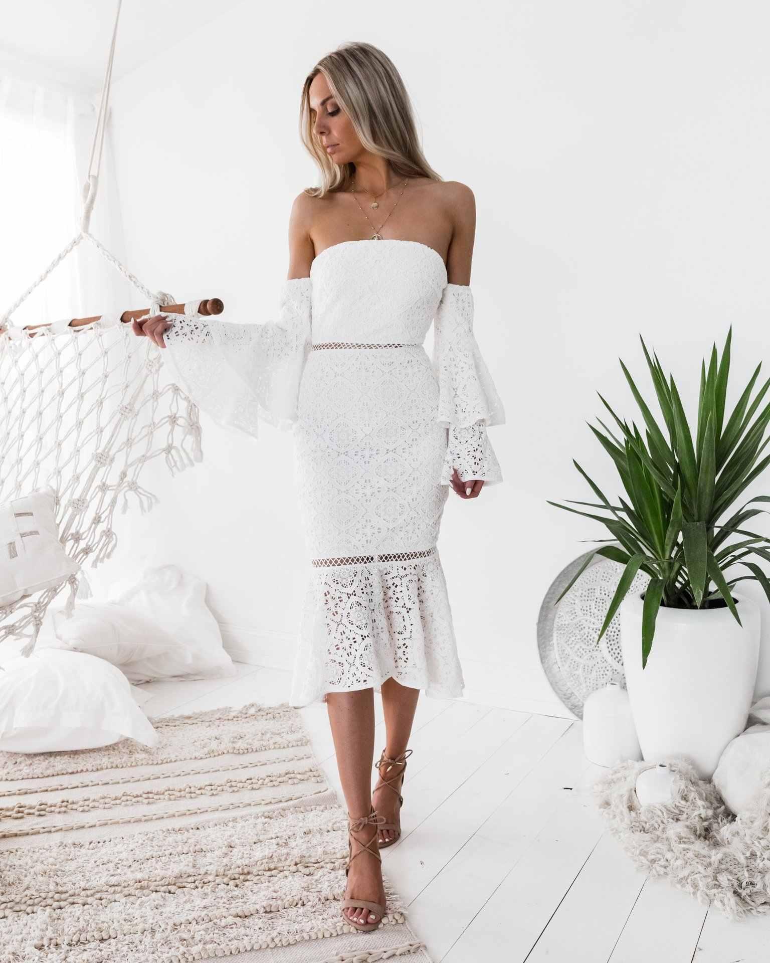 midi dress elegant sexy party club beach long casual wihte long sleeve  bodycon off shoulder lace 5e6b50c41d6d