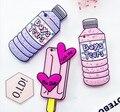 Doce rosa 3d garrafa amor ice cream phone case casais silicone macio rubber case para iphone 6 6 s 6 plus 5 5se 7 7 mais volta cobrir