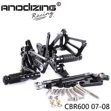 מלא CNC אלומיניום אופנוע מתכוונן Rearsets האחורי סטי רגל יתדות להונדה CBR600RR 2007 2008