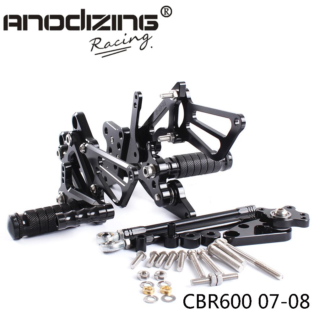 Full CNC Aluminum Motorcycle Adjustable Rearsets Rear Sets Foot Pegs For <font><b>HONDA</b></font> CBR600RR 2007-2008 image