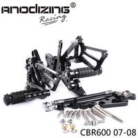 Full CNC Aluminum Motorcycle Adjustable Rearsets Rear Sets Foot Pegs For HONDA CBR600RR 2007 2008