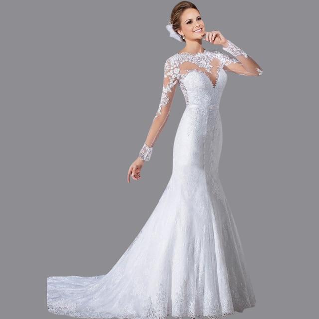 d3b73395bbd Sexy Transparent Back Vintage Style Wedding Gown Mermaid Court Train White  Long Sleeve Wedding Dress EN341