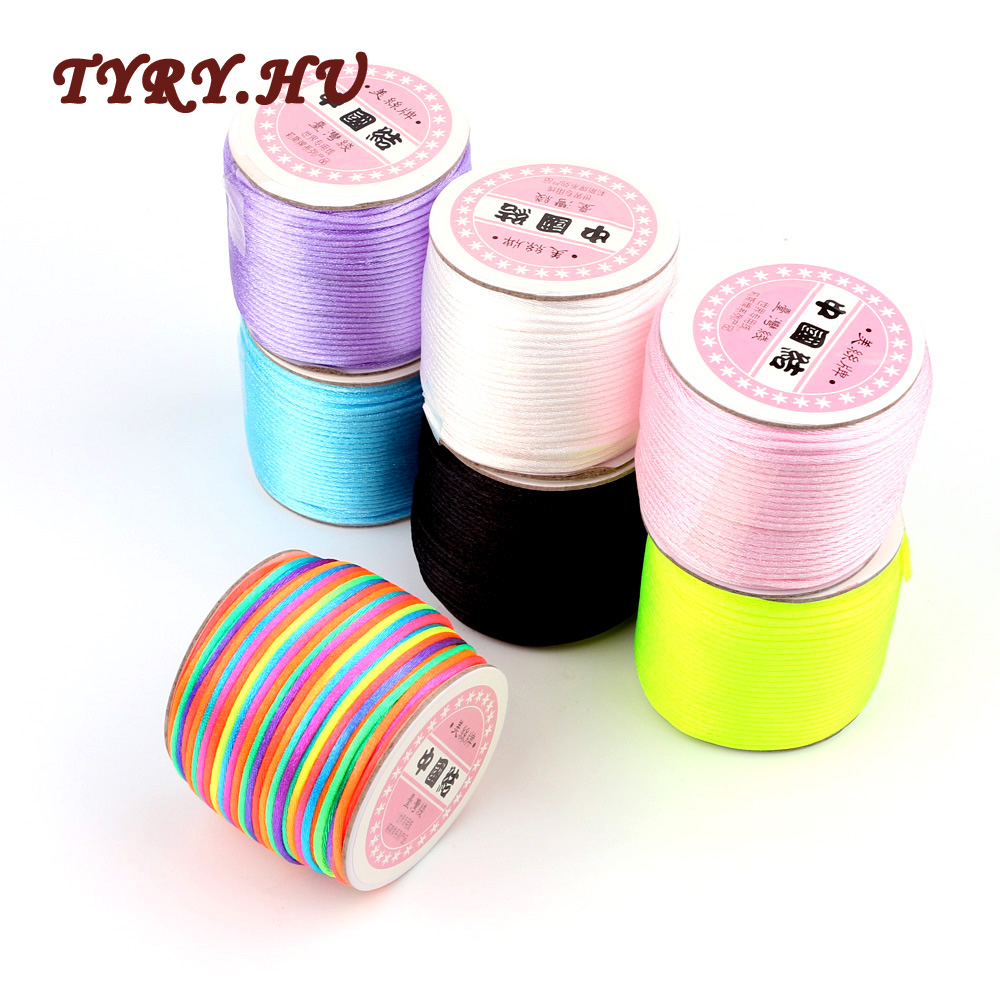 TYRY.HU 45M/Roll 2mm Soft Satin Nylon Cord Solid Rope For Jewelry Making Non-Toxic And Tasteless MultiColor DIY Accessories