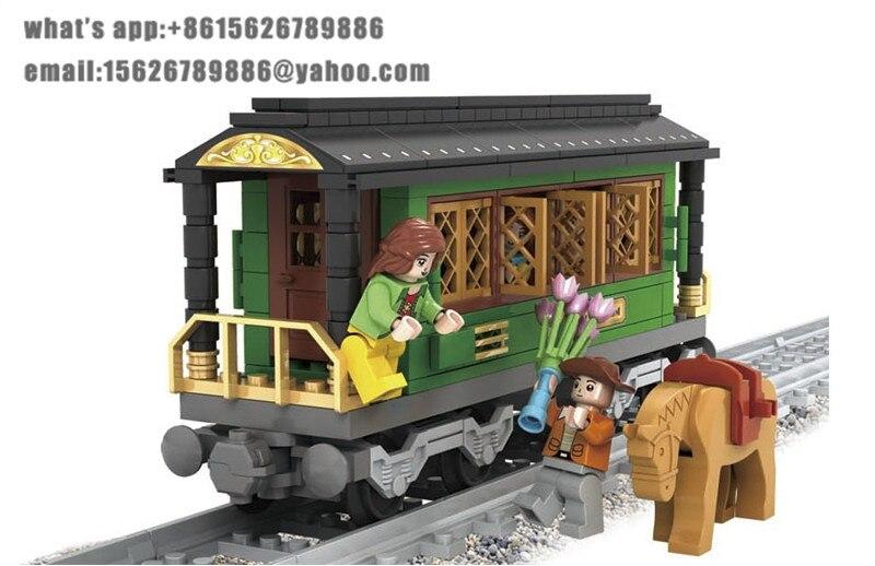 Ausini Model building kits compatible with lego city train 734 3D blocks Educational model & building toys hobbies for children