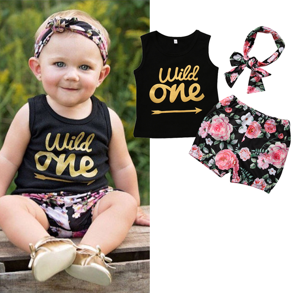 3pcs Summer Children's set Toddler Letter Print Headband Baby Short Sleeve and Infant Blouse Flower Short Pants 3pcs set newborn infant baby boy girl clothes 2017 summer short sleeve leopard floral romper bodysuit headband shoes outfits
